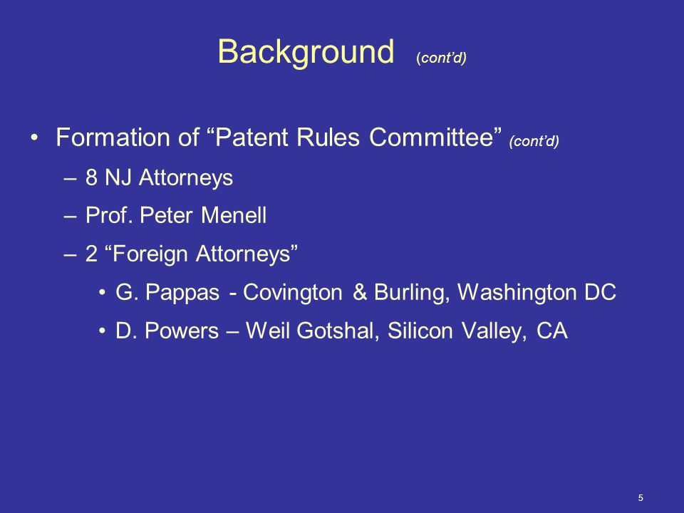 6 Background (cont'd) Purpose of Patent Rules Committee –Determine need –Evaluate rules of other Districts –Create standard protocol