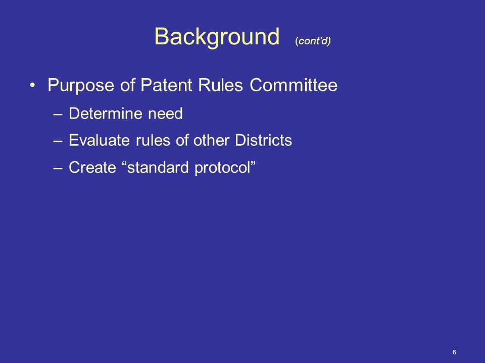 27 Overview (cont'd) Rule 3.6 (cont'd) 14 days after initial Scheduling Conference defendants to provide Non-Infringement Contentions for patents identified in Para.