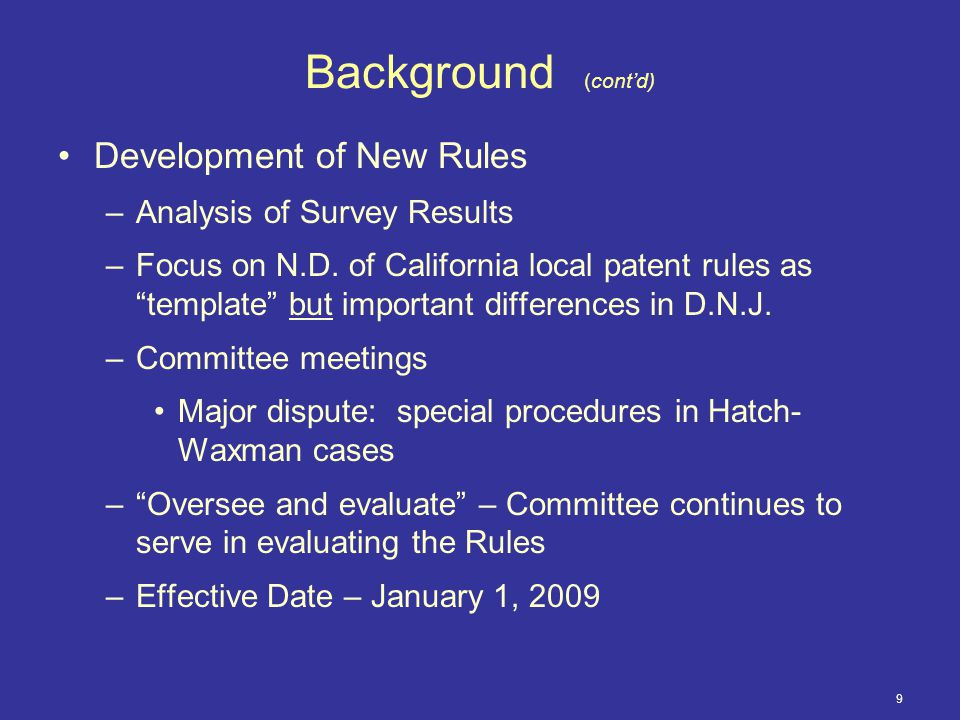 9 Background (cont'd) Development of New Rules –Analysis of Survey Results –Focus on N.D.