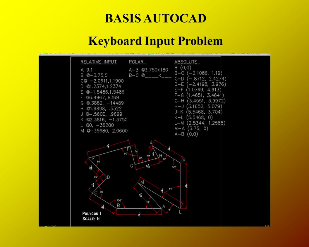 BASIS AUTOCAD Keyboard Input Problem