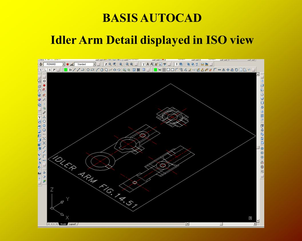 BASIS AUTOCAD Idler Arm Detail displayed in ISO view