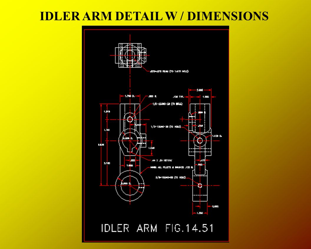IDLER ARM DETAIL W / DIMENSIONS