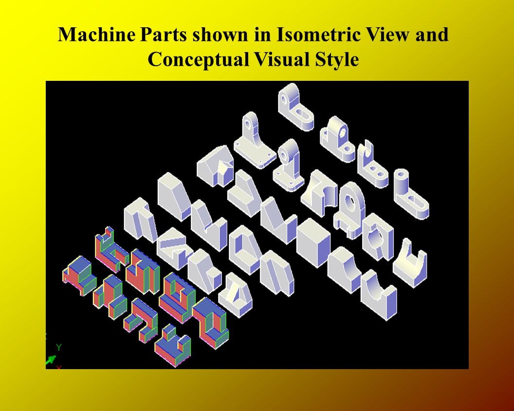 Machine Parts shown in Isometric View and Conceptual Visual Style