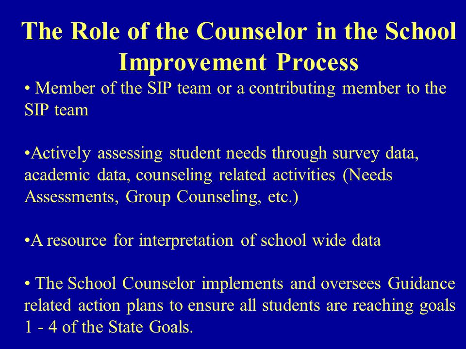 Member of the SIP team or a contributing member to the SIP team Actively assessing student needs through survey data, academic data, counseling related activities (Needs Assessments, Group Counseling, etc.) A resource for interpretation of school wide data The School Counselor implements and oversees Guidance related action plans to ensure all students are reaching goals 1 - 4 of the State Goals.