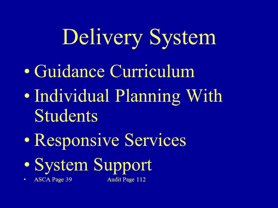 Delivery System Guidance Curriculum Individual Planning With Students Responsive Services System Support ASCA Page 39 Audit Page 112