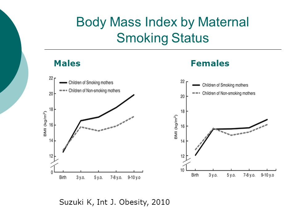Body Mass Index by Maternal Smoking Status MalesFemales Suzuki K, Int J. Obesity, 2010