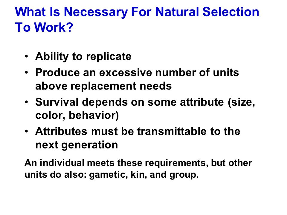 What Is Necessary For Natural Selection To Work? Ability to replicate Produce an excessive number of units above replacement needs Survival depends on