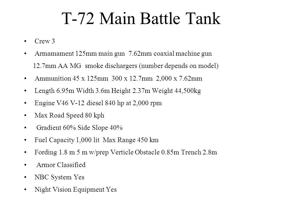 T-72 Main Battle Tank Crew 3 Armamament 125mm main gun 7.62mm coaxial machine gun 12.7mm AA MG smoke dischargers (number depends on model) Ammunition