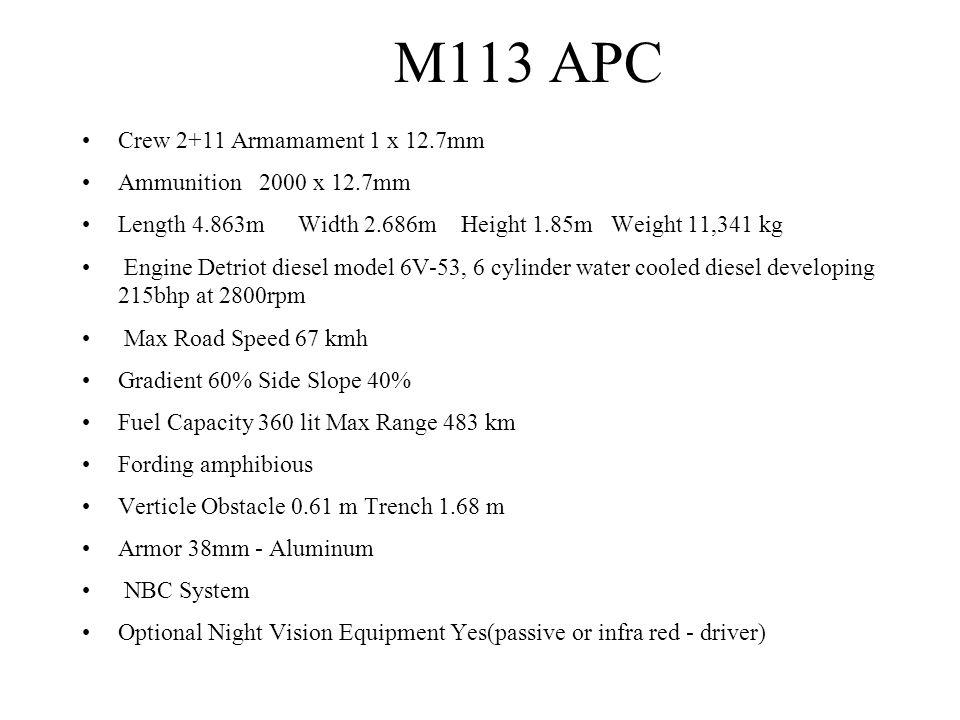 M113 APC Crew 2+11 Armamament 1 x 12.7mm Ammunition 2000 x 12.7mm Length 4.863m Width 2.686m Height 1.85m Weight 11,341 kg Engine Detriot diesel model