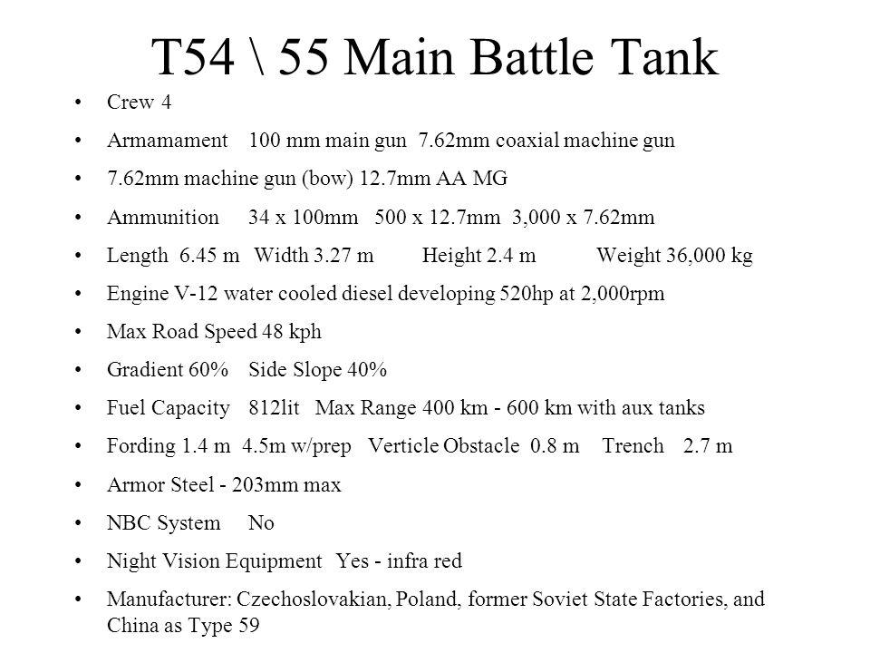 T54 \ 55 Main Battle Tank Crew4 Armamament100 mm main gun 7.62mm coaxial machine gun 7.62mm machine gun (bow) 12.7mm AA MG Ammunition34 x 100mm 500 x