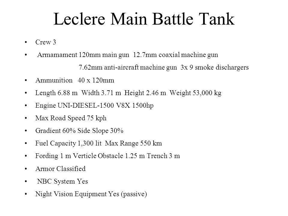 Leclere Main Battle Tank Crew 3 Armamament 120mm main gun 12.7mm coaxial machine gun 7.62mm anti-aircraft machine gun 3x 9 smoke dischargers Ammunitio