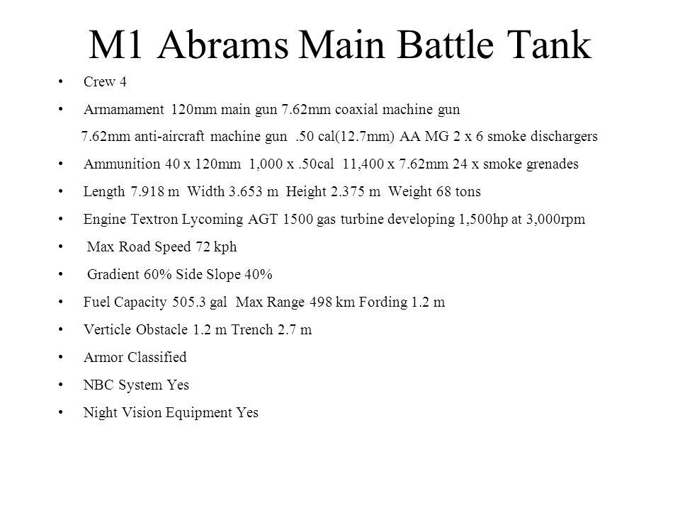 M1 Abrams Main Battle Tank Crew 4 Armamament 120mm main gun 7.62mm coaxial machine gun 7.62mm anti-aircraft machine gun.50 cal(12.7mm) AA MG 2 x 6 smo