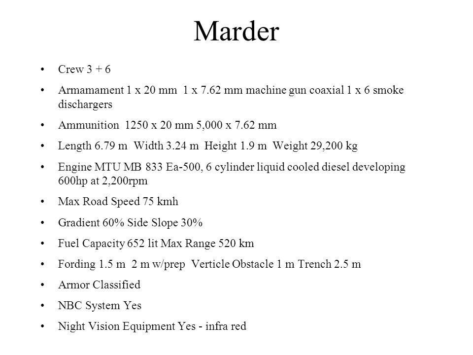 Marder Crew 3 + 6 Armamament 1 x 20 mm 1 x 7.62 mm machine gun coaxial 1 x 6 smoke dischargers Ammunition 1250 x 20 mm 5,000 x 7.62 mm Length 6.79 m W