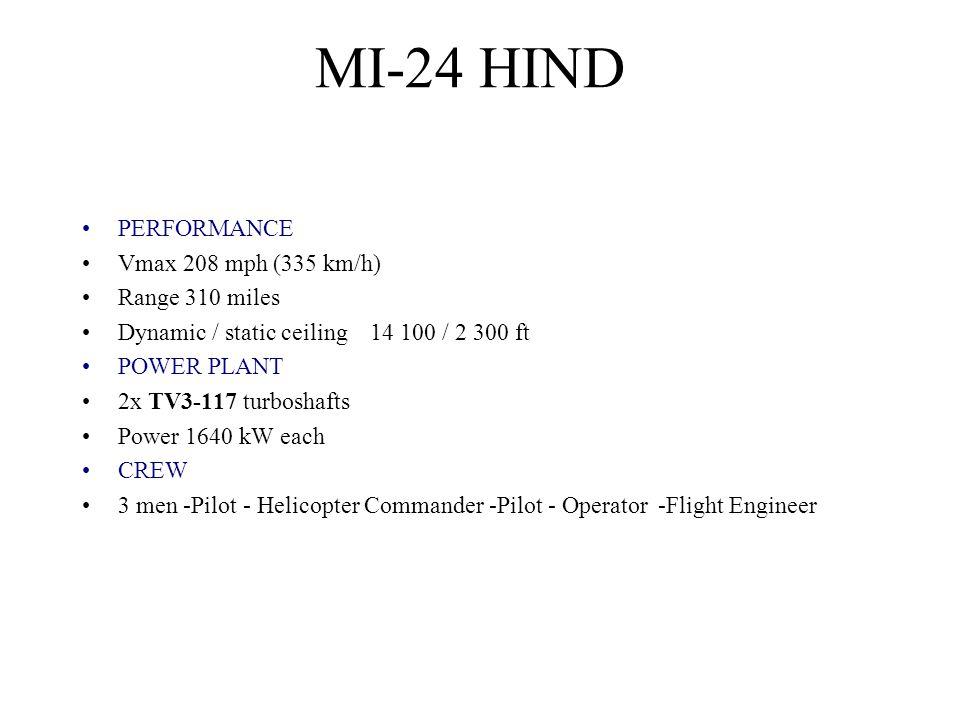 PERFORMANCE Vmax 208 mph (335 km/h) Range 310 miles Dynamic / static ceiling 14 100 / 2 300 ft POWER PLANT 2x TV3-117 turboshafts Power 1640 kW each C