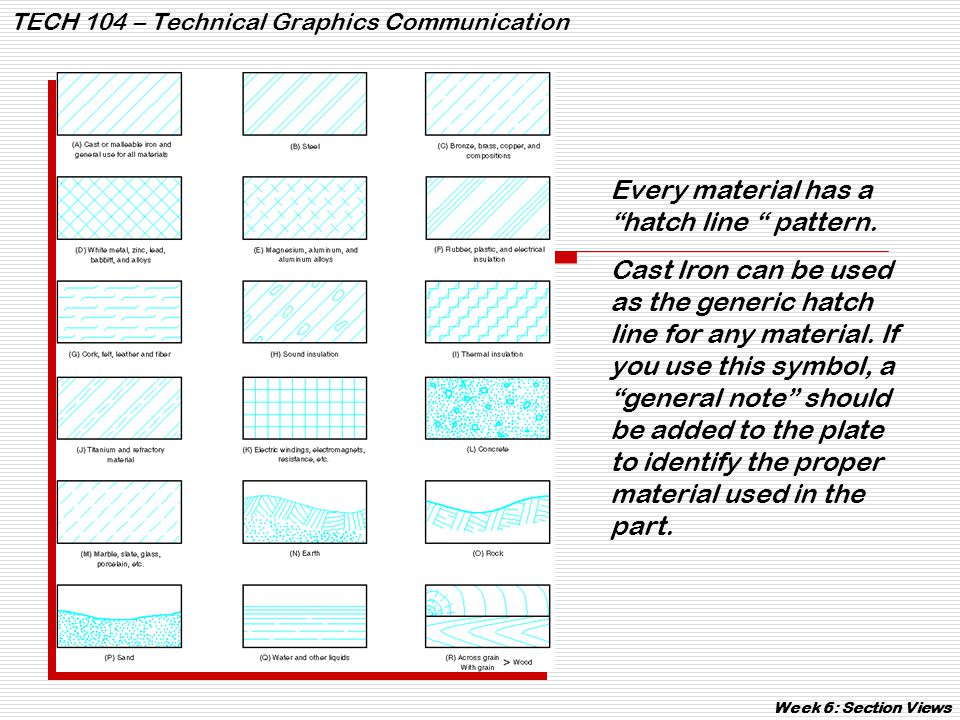 """TECH 104 – Technical Graphics Communication Week 6: Section Views Every material has a """"hatch line """" pattern. Cast Iron can be used as the generic hat"""