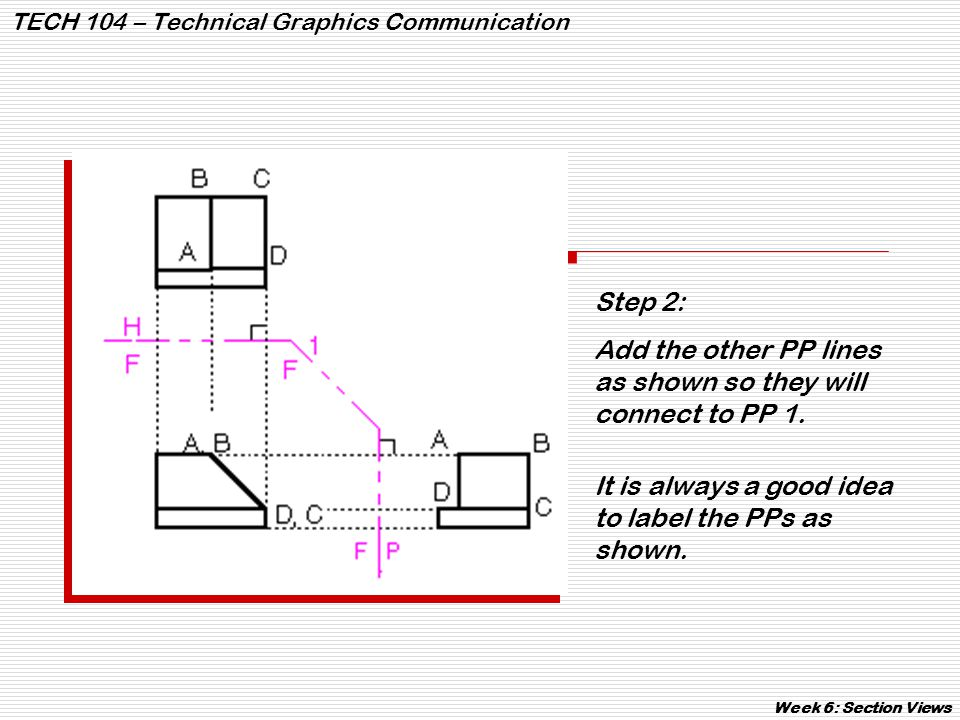 TECH 104 – Technical Graphics Communication Week 6: Section Views Every material has a hatch line pattern.