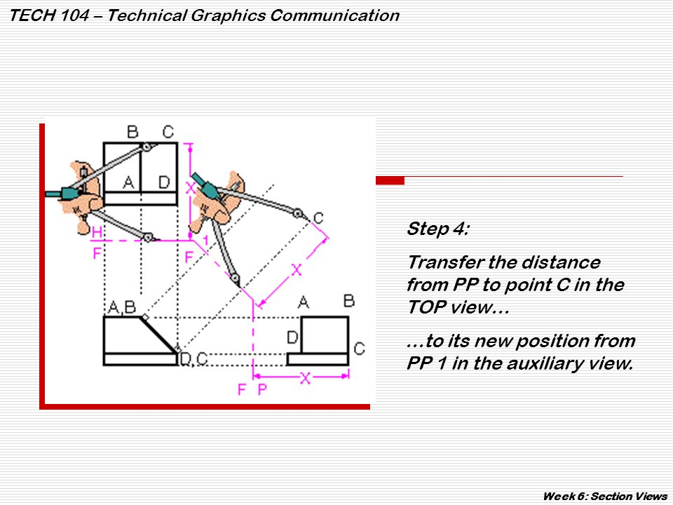 TECH 104 – Technical Graphics Communication Week 6: Section Views Step 4: Transfer the distance from PP to point C in the TOP view… …to its new positi
