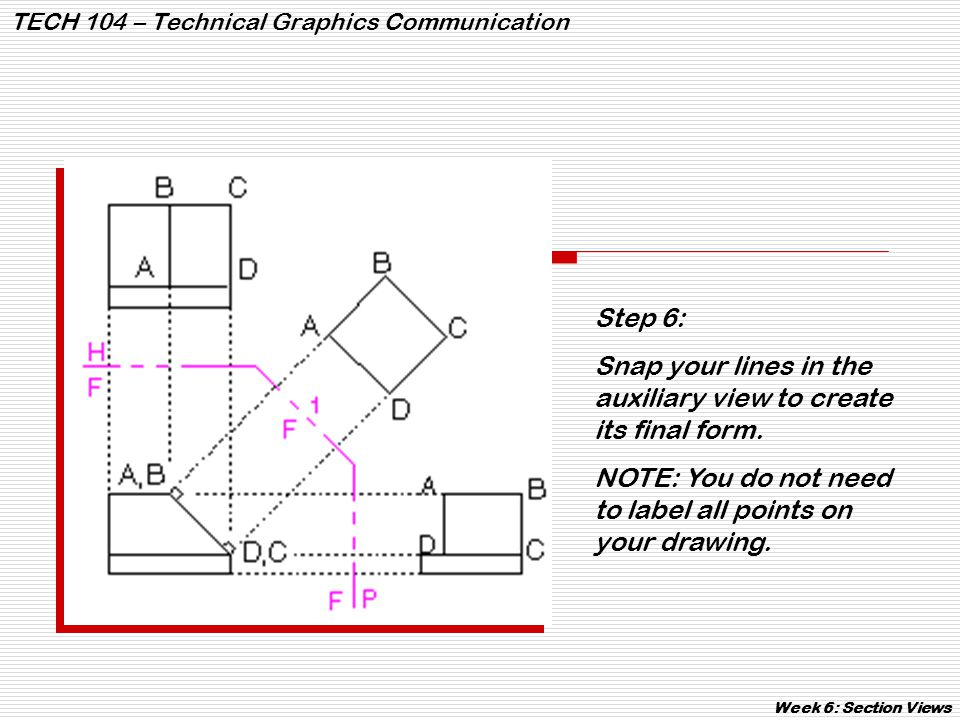 TECH 104 – Technical Graphics Communication Week 6: Section Views Broken sections have no cutting plane line and are used to show a small, localized area of the object.