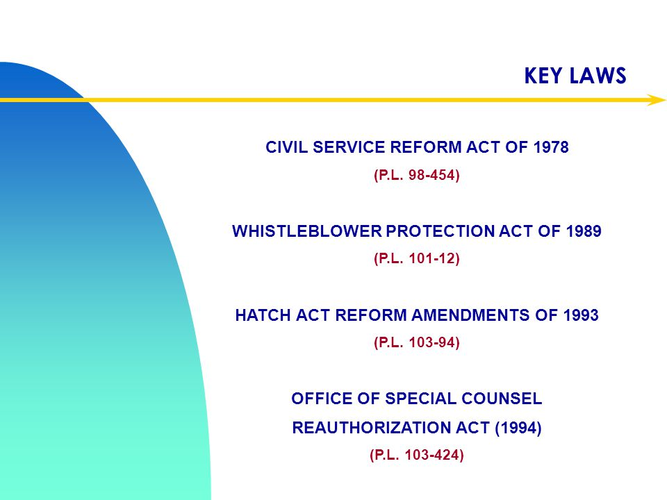 TOPICS 5 U.S.C. CHPTRS. 12, 23, 73 PROHIBITED PERSONNEL PRACTICES WHISTLEBLOWER DISCLOSURES POLITICAL ACTIVITY  U.S. OFFICE OF SPECIAL COUNSEL (OSC)