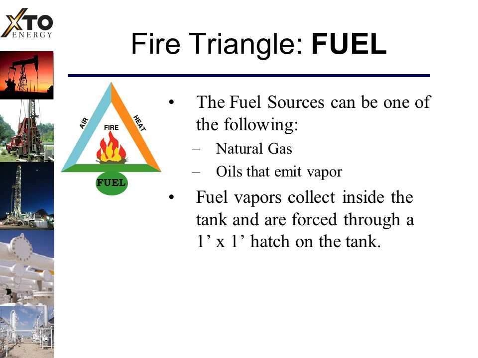 Fire Triangle: FUEL The Fuel Sources can be one of the following: –Natural Gas –Oils that emit vapor Fuel vapors collect inside the tank and are forced through a 1' x 1' hatch on the tank.