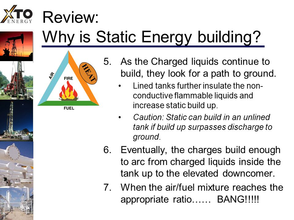 Review: Why is Static Energy building? 5. As the Charged liquids continue to build, they look for a path to ground. Lined tanks further insulate the n