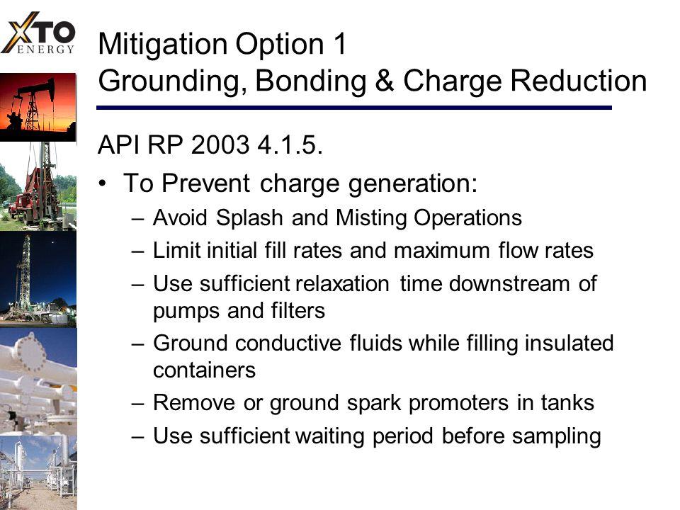 Mitigation Option 1 Grounding, Bonding & Charge Reduction API RP 2003 4.1.5.