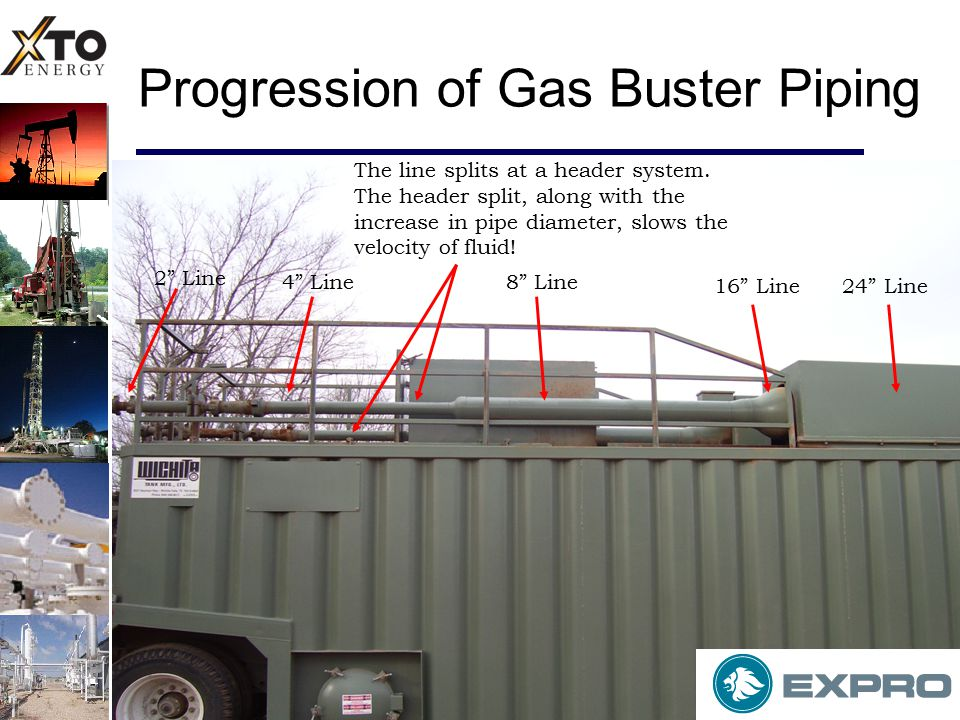 Progression of Gas Buster Piping 2 Line 4 Line8 Line 16 Line24 Line The line splits at a header system.