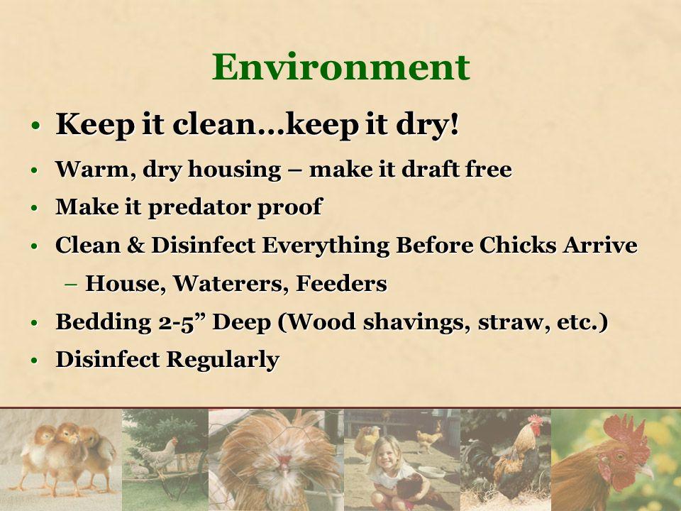 Environment Keep it clean…keep it dry!Keep it clean…keep it dry.