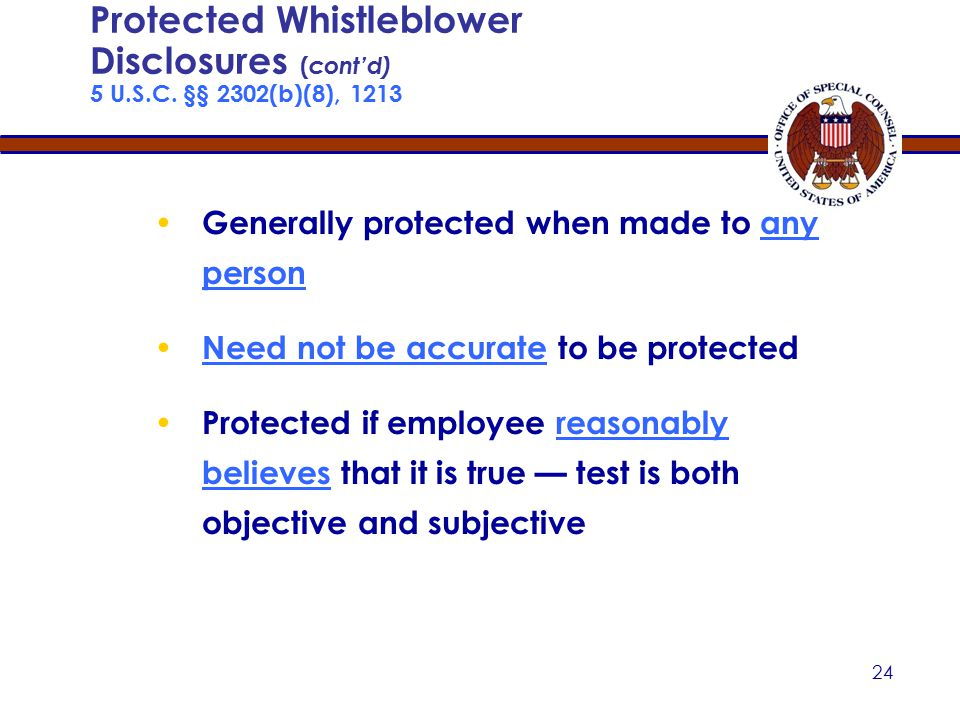 23 Protected Whistleblower Disclosures 5 U.S.C.