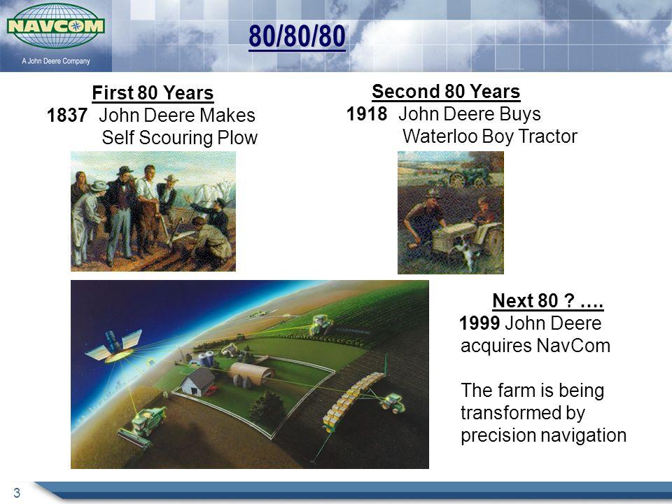 3 80/80/80 First 80 Years 1837 John Deere Makes Self Scouring Plow Second 80 Years 1918 John Deere Buys Waterloo Boy Tractor Next 80 ? …. 1999 John De