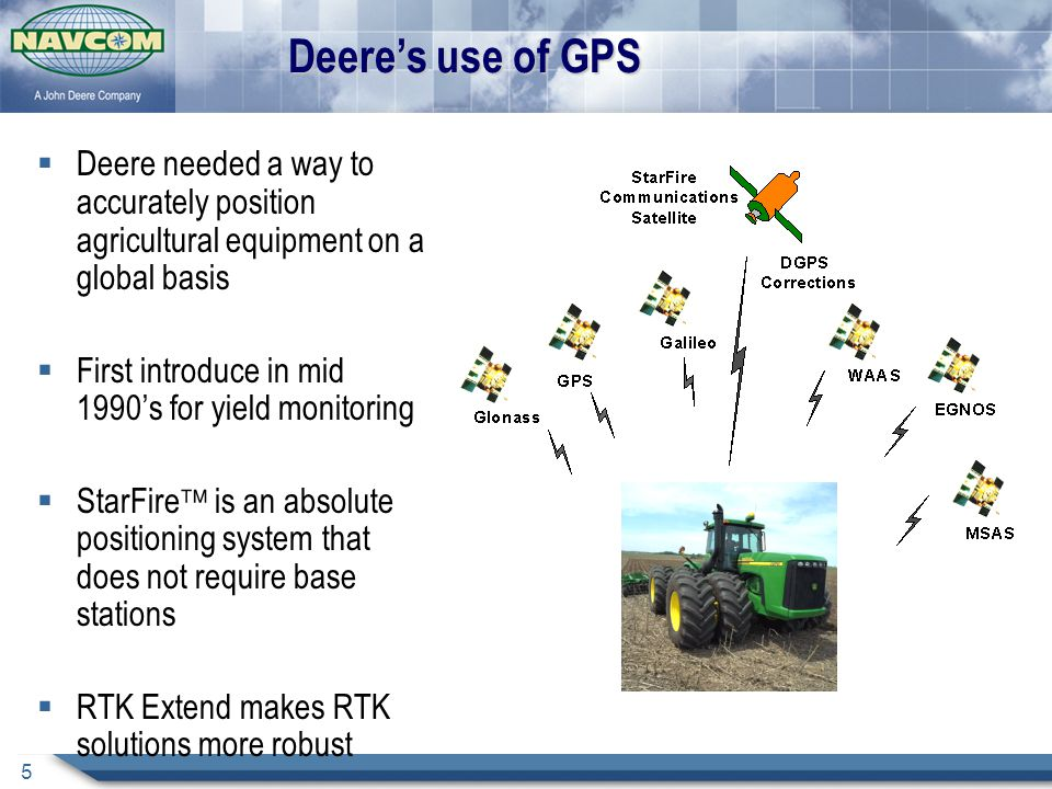 5 Deere's use of GPS  Deere needed a way to accurately position agricultural equipment on a global basis  First introduce in mid 1990's for yield monitoring  StarFire  is an absolute positioning system that does not require base stations  RTK Extend makes RTK solutions more robust
