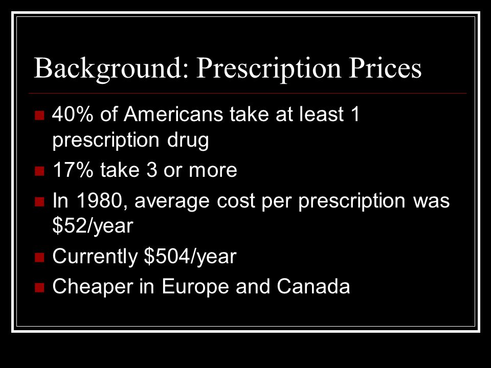 Background: Prescription Prices 40% of Americans take at least 1 prescription drug 17% take 3 or more In 1980, average cost per prescription was $52/year Currently $504/year Cheaper in Europe and Canada