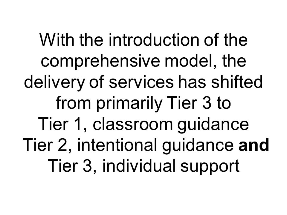 With the introduction of the comprehensive model, the delivery of services has shifted from primarily Tier 3 to Tier 1, classroom guidance Tier 2, intentional guidance and Tier 3, individual support