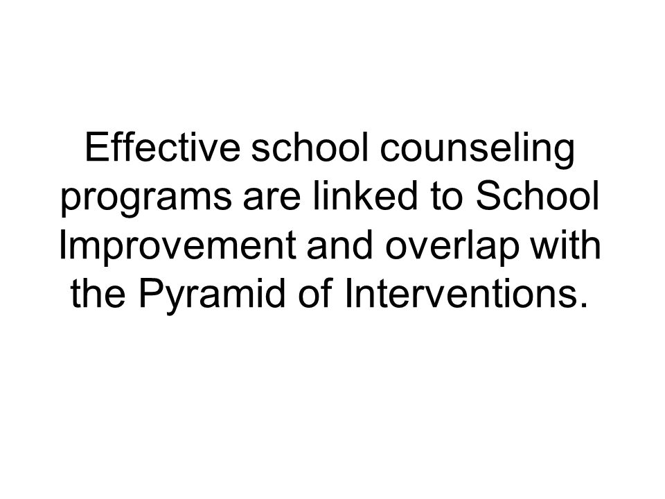 Effective school counseling programs are linked to School Improvement and overlap with the Pyramid of Interventions.