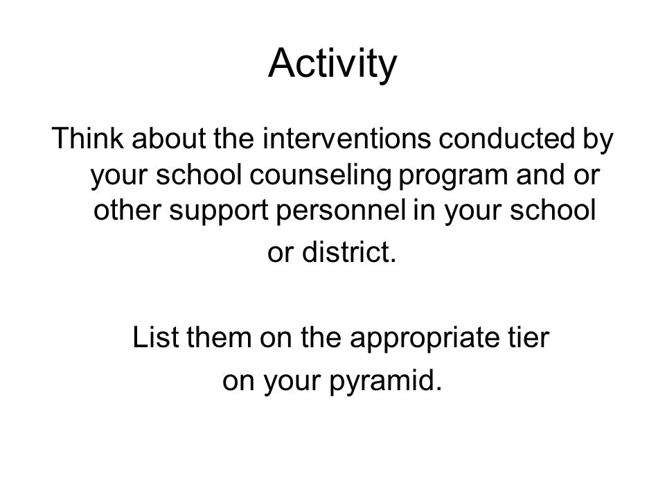 Activity Think about the interventions conducted by your school counseling program and or other support personnel in your school or district.