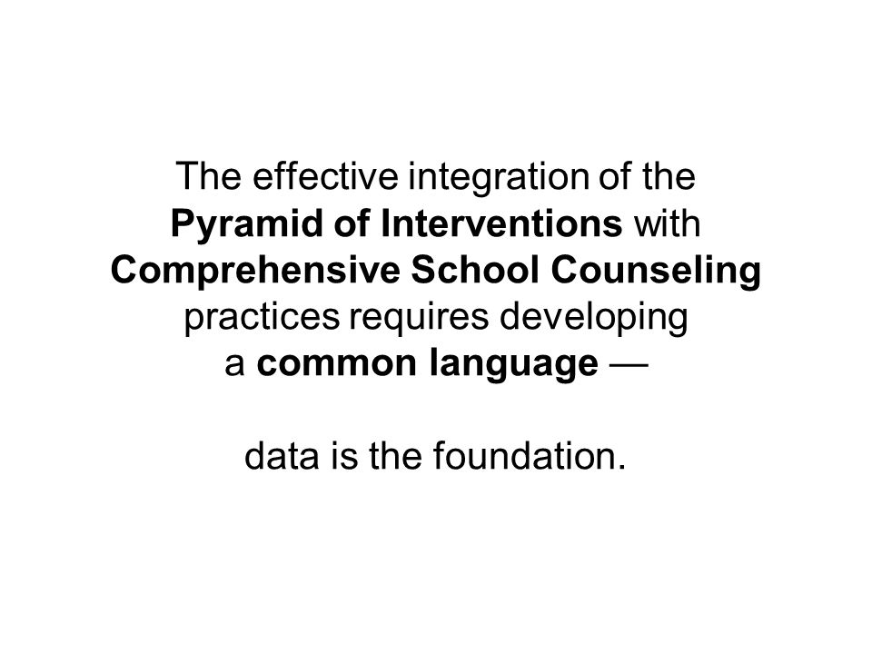 The effective integration of the Pyramid of Interventions with Comprehensive School Counseling practices requires developing a common language — data is the foundation.