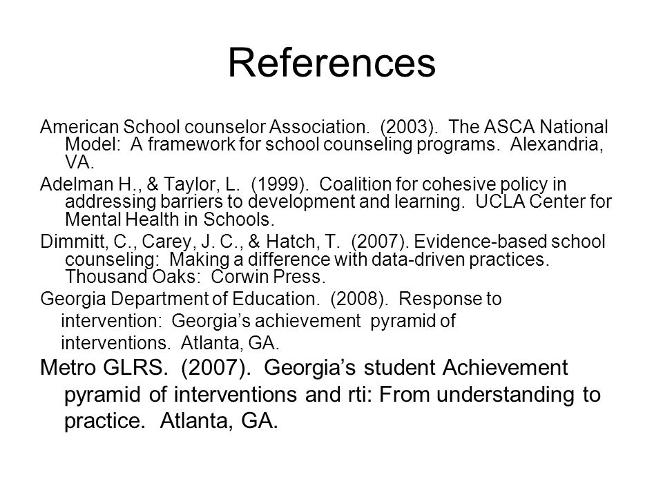 References American School counselor Association. (2003).