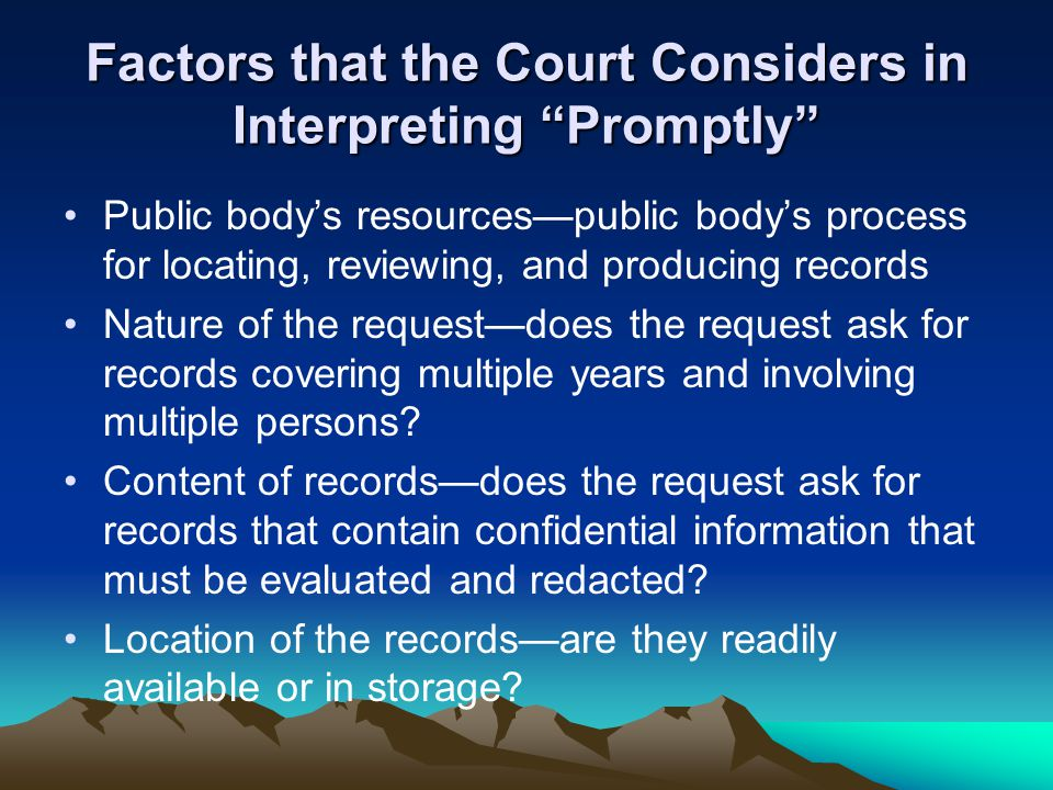 "Factors that the Court Considers in Interpreting ""Promptly"" Public body's resources—public body's process for locating, reviewing, and producing recor"