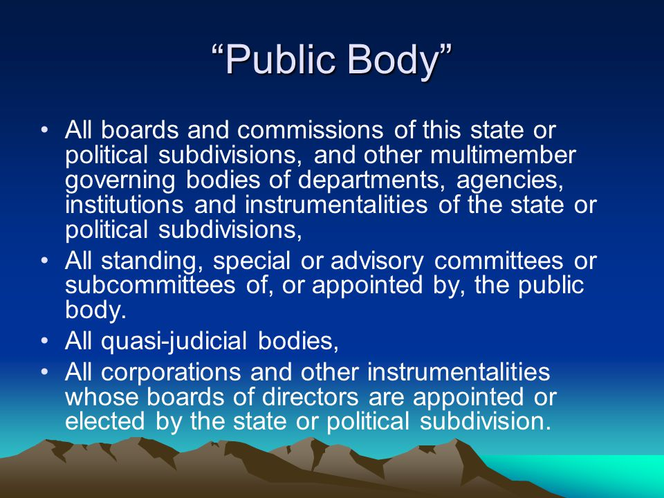 """Public Body"" All boards and commissions of this state or political subdivisions, and other multimember governing bodies of departments, agencies, ins"
