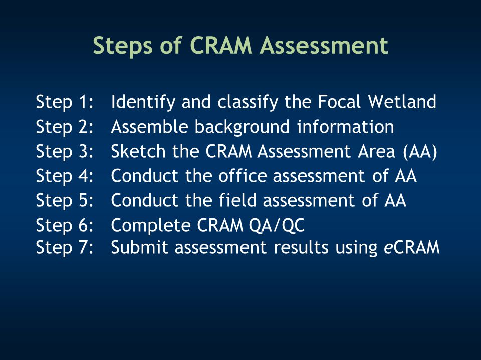 Steps of CRAM Assessment Step 1:Identify and classify the Focal Wetland Step 2: Assemble background information Step 3:Sketch the CRAM Assessment Area