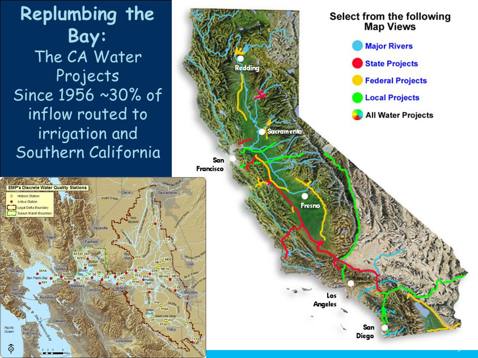 Replumbing the Bay: The CA Water Projects Since 1956 ~30% of inflow routed to irrigation and Southern California