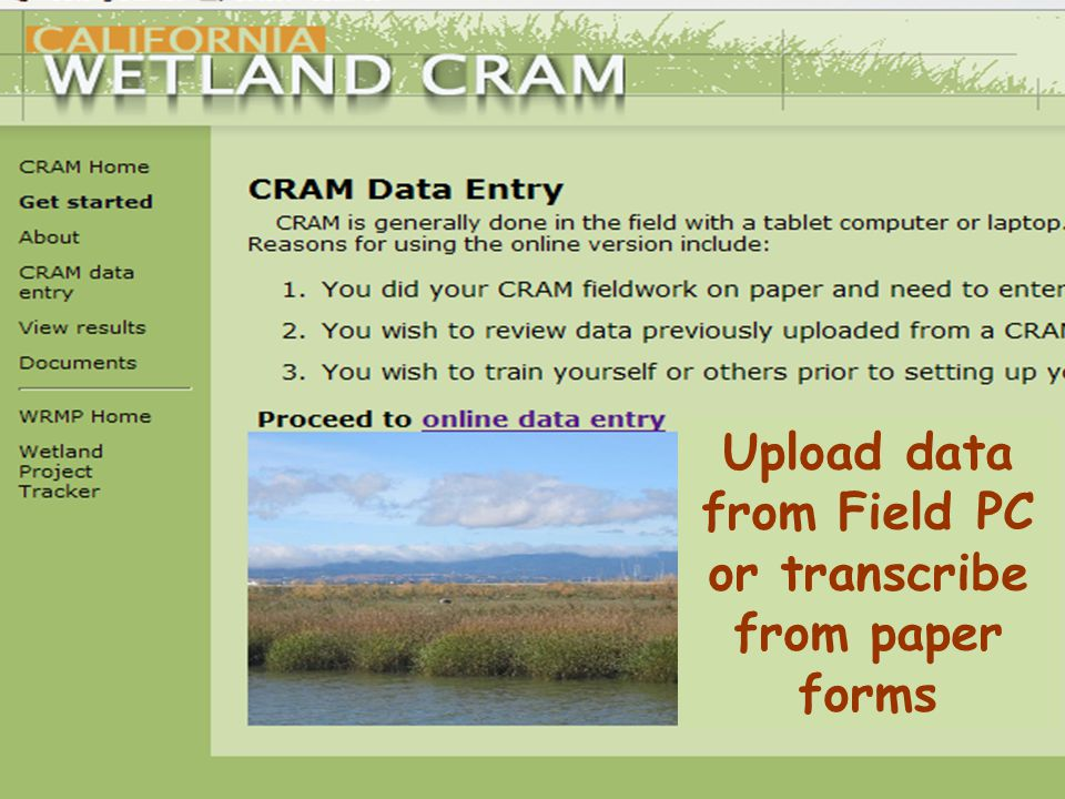 Upload data from Field PC or transcribe from paper forms