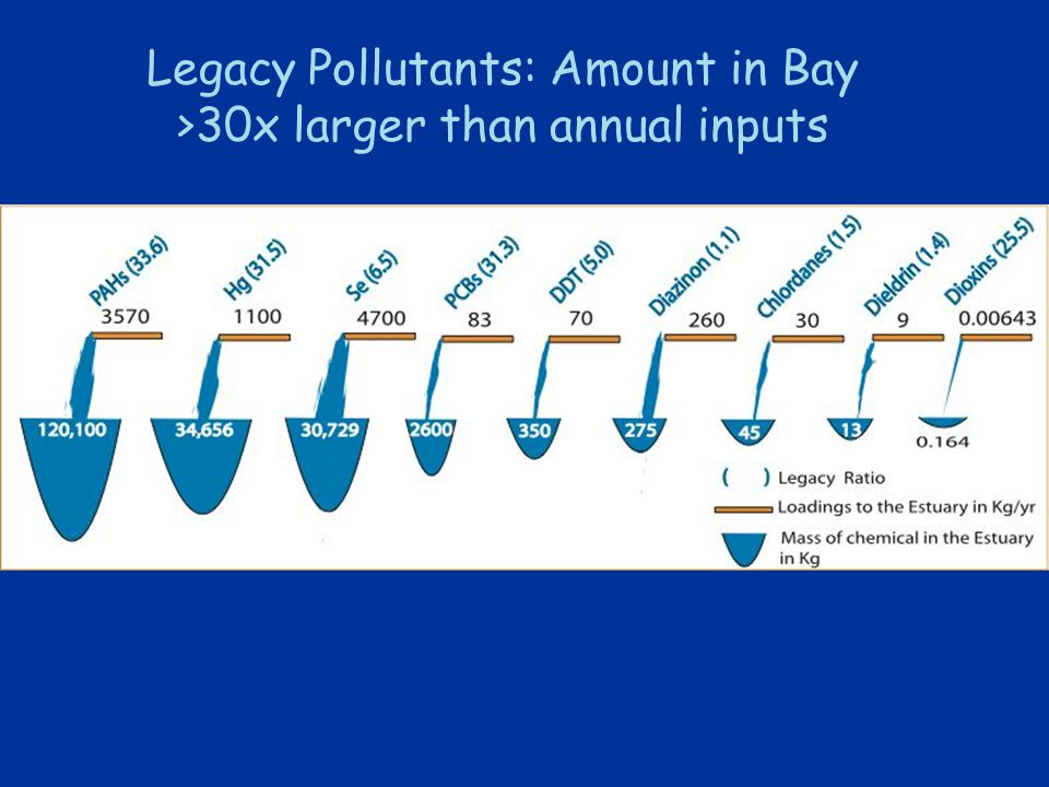Legacy Pollutants: Amount in Bay >30x larger than annual inputs