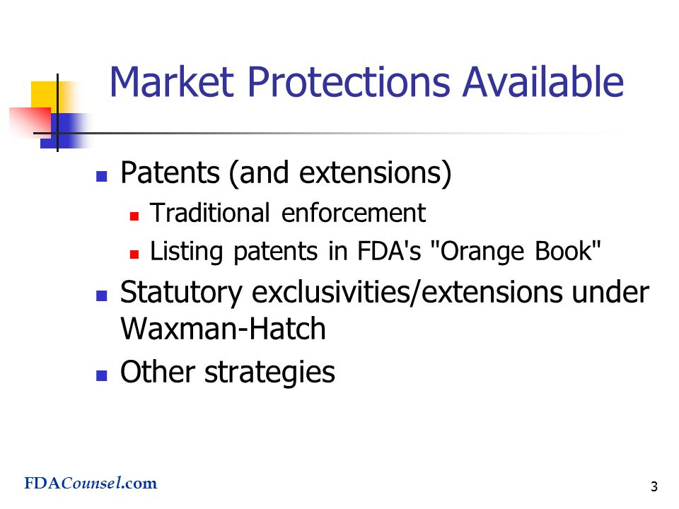 3 Market Protections Available Patents (and extensions) Traditional enforcement Listing patents in FDA s Orange Book Statutory exclusivities/extensions under Waxman-Hatch Other strategies FDA Counsel.com