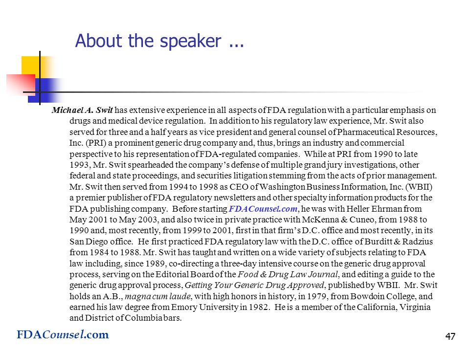 47 About the speaker... Michael A.