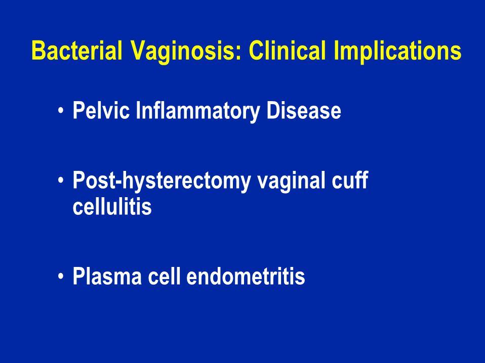Bacterial Vaginosis: Clinical Implications Pelvic Inflammatory Disease Post-hysterectomy vaginal cuff cellulitis Plasma cell endometritis