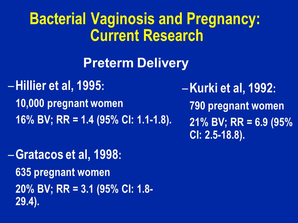 Bacterial Vaginosis and Pregnancy: Current Research – Hillier et al, 1995 : 10,000 pregnant women 16% BV; RR = 1.4 (95% CI: 1.1-1.8).