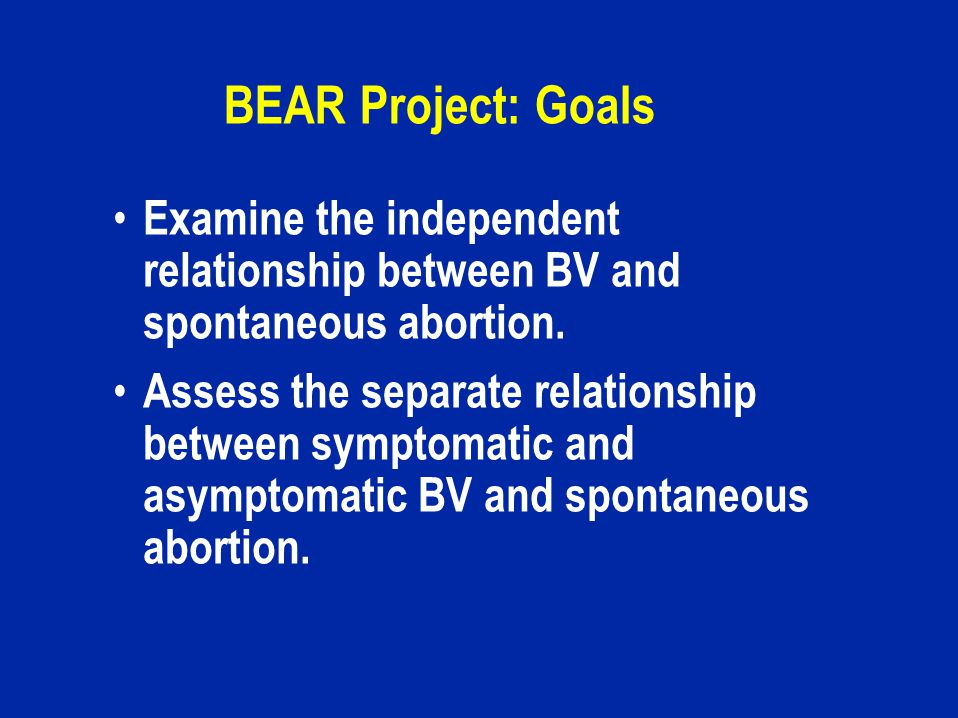 BEAR Project: Goals Examine the independent relationship between BV and spontaneous abortion.