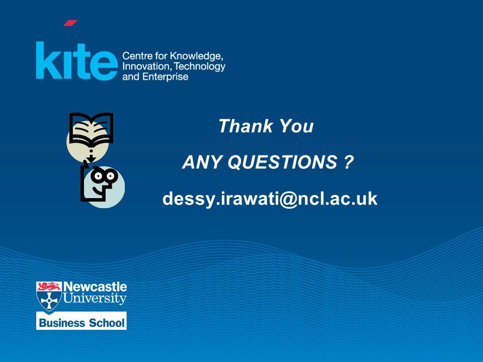 Thank You ANY QUESTIONS dessy.irawati@ncl.ac.uk