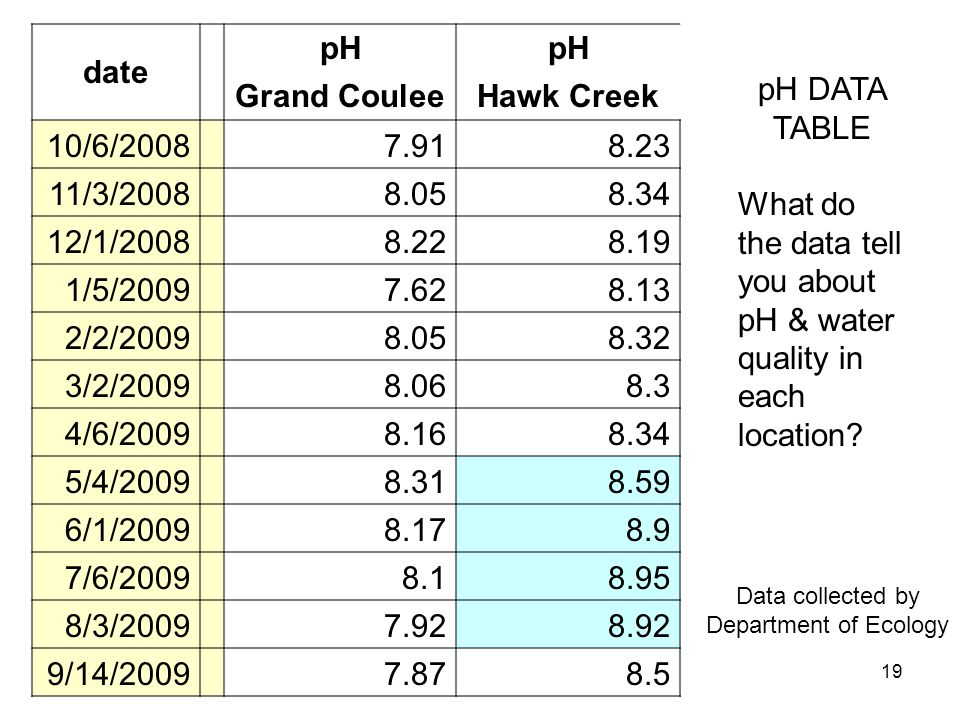 19 pH DATA TABLE What do the data tell you about pH & water quality in each location? date pH Grand CouleeHawk Creek 10/6/2008 7.918.23 11/3/2008 8.05